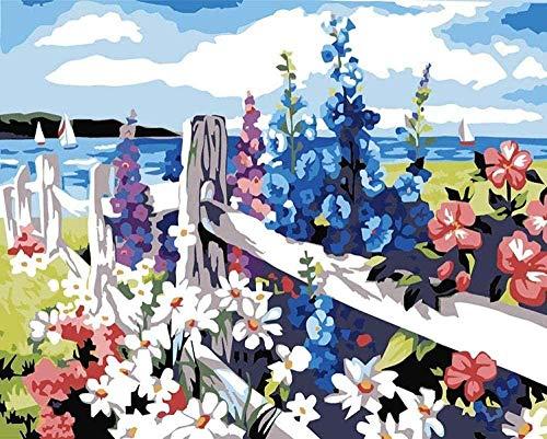 Verf op nummer Zee van bloemen DIY handgeschilderd olieverfschilderij op doek 3D Wall Art voor modern abstract Wall Art Decor voor woonkamer Slaapkamer Kantoor 40x50cm Geen frame