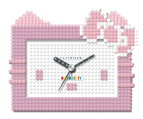 ナノブロックnanoblock Hello Kitty (ハローキティ) コラボ 目覚まし時計 デコれる アラームクロック ピンク NAAC-8604PI