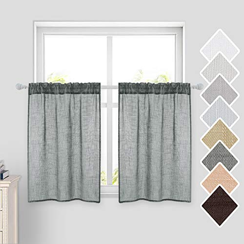 MIULEE 2 Panels Kitchen Curtains Semi Sheer Linen Curtains-Rod Pocket Voile Drapes for Kitchen Cafe Bathroom and Small Short Windows 29 W x 36 L Each (Green Grey)