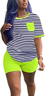 Women Two Piece Outfits Sets - Tracksuit Set Stripe Short Sleeve T Shirts + Skinny Short Pants Jogging Suits Rompers Small...