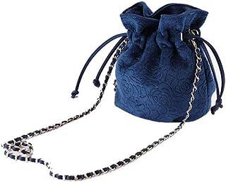 Ulisty Damen Samt Kordelzug Klein Beuteltasche Mini Eimer Tasche Schultertasche Handtasche Umhängetasche Blau