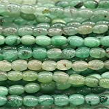 LKBEADS 1 hebra natural verde aventurina jade forma de arroz suelta pequeñas cuentas ovaladas 8 x 10 mm de largo 03838 Code-HIGH-29908