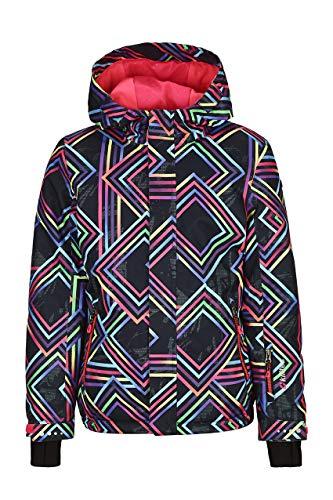 Killtec Skijacke Mädchen Gizela Allover Jr - Funktionsjacke mit Kapuze und Schneefang - Winterjacke Kinder mit 10.000 mm Wassersäule - wasserdicht, schwarz, 128