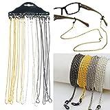 12pcs / set lunettes cou cordon lanière lunettes anti-perte chaîne d'allongement anti-allergique pour lunettes de soleil lecture lunettes or et argent couleur anti-allergique chaîne chaîne de lunettes