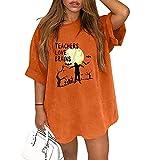 Camiseta de Manga Corta de Halloween para Mujer, Retro Blusa Camisa Sueltos de Talla Grande Sudadera Suelto Talla Grande Estampado de Emoji de Calabaza Casual Pullover Tops Jersey (A 04, XL)