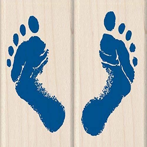 Inkadinkado Baby Feet Wood Stamp Set for Card Decorating, 2pc, 1.5'' W x 2'' L