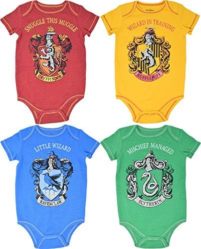 Warner Bros. Harry Potter Baby Boys Hogwarts 4 Pack Bodysuits 0-3 Months