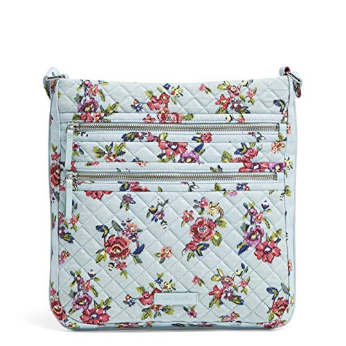 Vera Bradley Signature Cotton Triple Zip Hipster Crossbody Purse, Water Bouquet