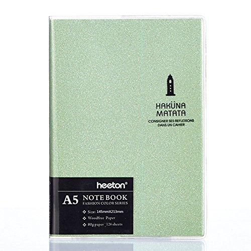 Cupcinu Cuaderno a5 Lined Notebook Cuadernos Blocs de Notas Diarios Cuadernos Bonitos Color Caramelo Libros Cuadernos Contables 120 Hojas (Verde)