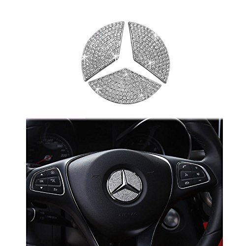 1797 Compatible Steering Wheel Logo Caps for Mercedes Benz Accessories Parts Emblem Badge Bling Decals Covers Interior Decorations W205 W212 W213 C117 C E S CLA GLA GLK Class Crystal Silver 49mm 3pcs
