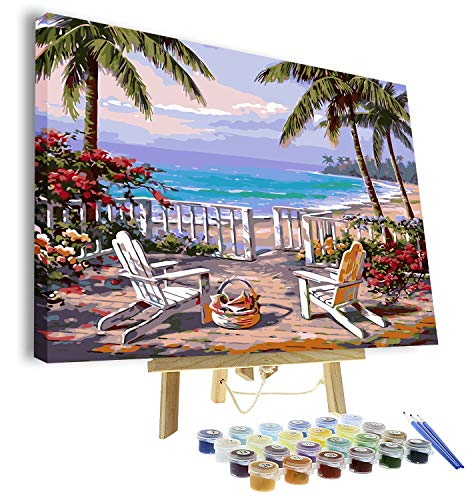VIGEIYA DIY Paint by Numbers for Adults Include Framed Canvas and Wooden Easel with Brushes and Acrylic Pigment 16x20 inch (Beach)