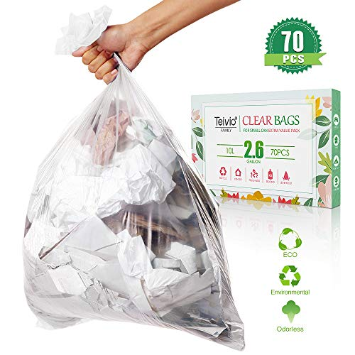 2.6 Gallon 70 Counts Strong Trash Bags Garbage Bags by Teivio, Bathroom Trash Can Bin Liners, Small Plastic Bags for Home Office Kitchen,fit 10 Liter, 2,2.5,3 Gal, Clear