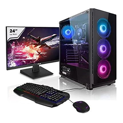 """Pack Gaming - Megaport PC AMD Ryzen 5 3600 • 24"""" Full-HD • Teclado y ratón Gaming • GeForce GTX1660 Super 6GB • Windows 10 • 16GB DDR4 • 2TB HDD • 240GB SSD • PC Gamer • Ordenador de sobremesa"""