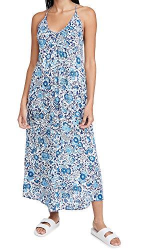 Poupette St Barth Women's Felicia Sleeveless Long Dress, White Blue Celery, Medium