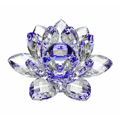 Amlong Crystal Hue Reflection Crystal Lotus Flower with Gift Box, Blue (4 Inch)
