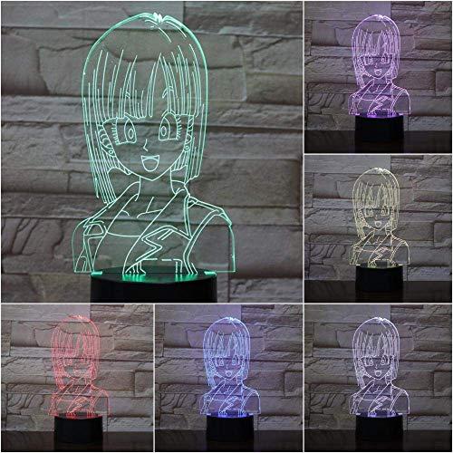 MQJ Lámpara de Ilusión 3D Led Luz de Noche Dragon Ball Z Bulma Usb Niños Niños Regalo Dibujos Animados Juguetes Bebé Bulma Lámpara de Mesa Dormitorio Neón
