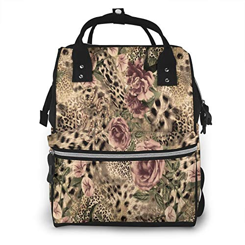 Cyloten Diaper Bag Striped Flower Leopard Print Travel Bag Multi-Function Canvas Nursing Bag Stylish and Durable Mummy Backpack with Portable Handle & Smooth Zipper for Baby Care Outdoor