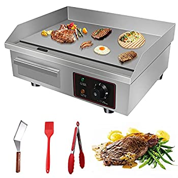 Aliyaduo 110V 3000W 22  Commercial Electric Countertop Griddle Flat Top Grill Hot Plate BBQ,Adjustable Thermostatic Control,Stainless Steel Restaurant Grill for Kitchen