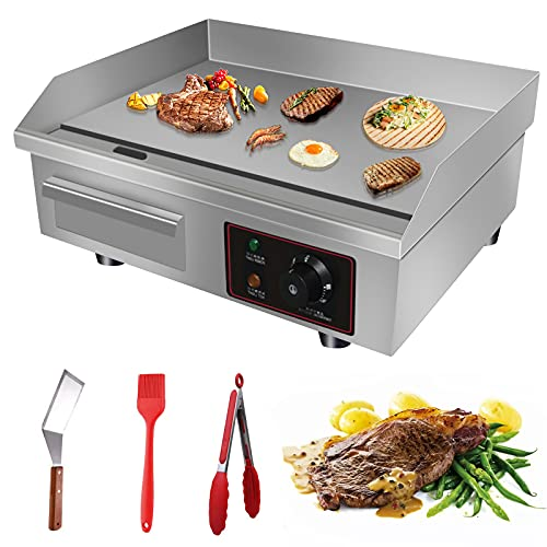 Aliyaduo 110V 3000W 22' Commercial Electric Countertop Griddle Flat Top Grill Hot Plate BBQ,Adjustable Thermostatic Control,Stainless Steel Restaurant Grill for Kitchen
