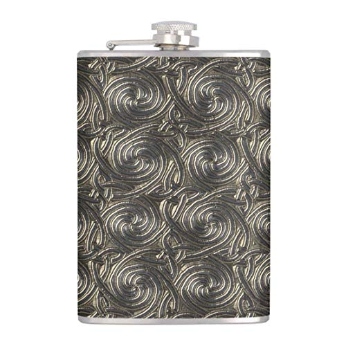 Flask for Liquor and Funnel,7 Oz Leak Proof Stainless Steel Pocket Hip Flask Ancient Silver Celtic Spiral Knots Pattern,Great Gift Idea Flask
