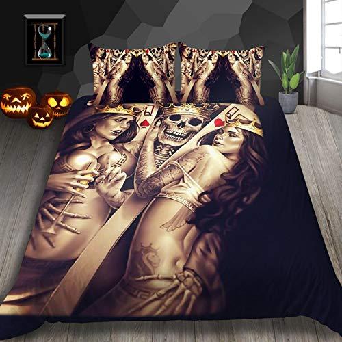 QXbecky Halloween Grim Reaper Skull Love Bedding Quilt Cover Pillowcase 3-Piece Set 3D Digital European and American Printing