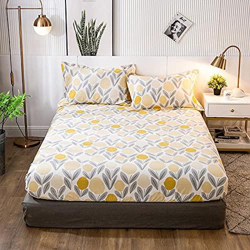 XGguo Protector de colchón Acolchado - Microfibra - Transpirable - Funda para colchon estira hasta Sábana Estampada de una Sola Pieza de algodón-5_120 * 200 + 25cm