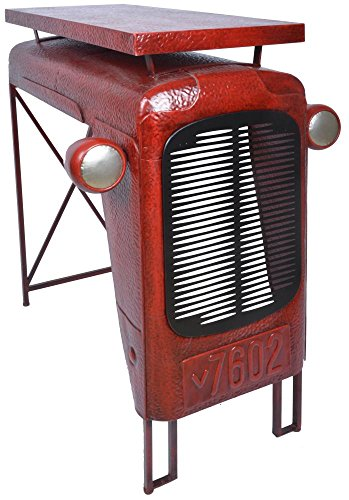 Esschert Design Traktortisch aus Metall, 100 x 67 x 104 cm, im Traktorkühler-Design, Deko-Tisch, Stehtisch, in rot