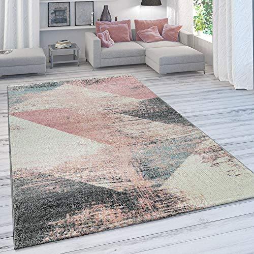 Paco Home Wohnzimmer Teppich, Moderner Kurzflor in Pastell Farben, Vintage Galaxy Muster, Grösse:160x230 cm, Farbe:Mehrfarbig 3