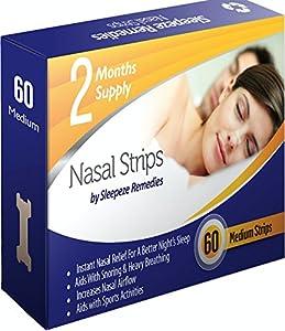 Tiras nasales mediana x60 | Dilatador nasal Sleepeze Remedies® para dejar de roncar y ayudar a breathe | Tiras nasales anti ronquidos (x60 Nuevo)