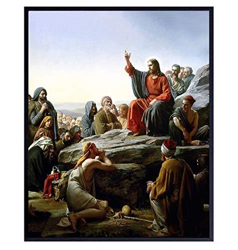Jesus Christ - Sermon on the Mount - Christian Wall Art - Jesus Poster - Religious Wall Decor - Jesus Decor - Jesus Wall Decor - Jesus Wall Art - Catholic Gifts for Men, Women - Inspirational Decor