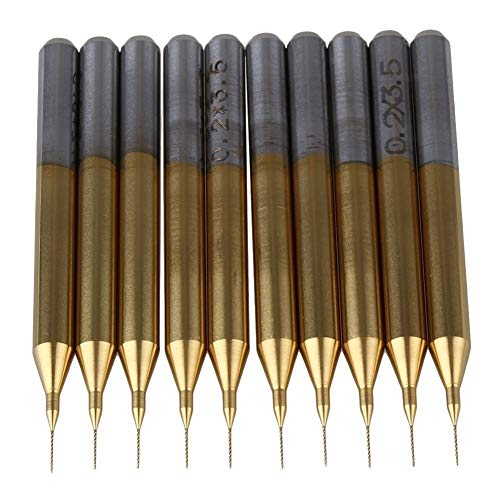 PCB Mini Drill Bits Drilling Tools 0.2mm Blade 1/8' Shank Titanium Coated Carbide Micro Drill Bits PCB CNC End Mill Tool Pack of 10 Rotary Tool,Engraving Tools