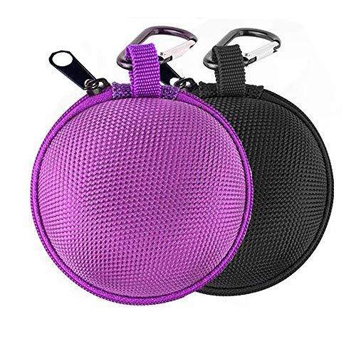 Earbud Case Mini Earphone Case EVA Hard Protective Carrying Case Travel Portable Storage Bag for Earphones Earbuds and Mini Items (Black+Purple)
