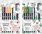 Tombow Watercoloring Set (Floral + Greenery Bundle Kit) inkl. Anleitungen und Zubehör