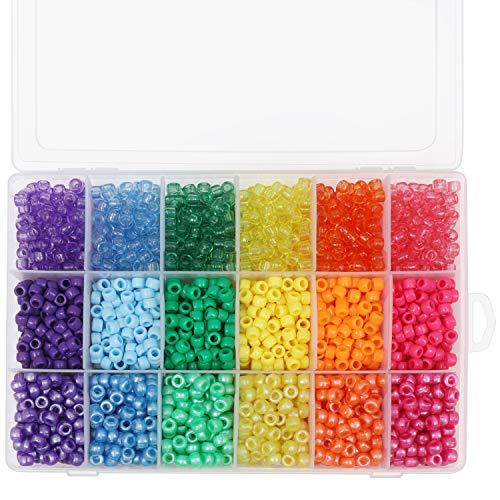 Kurtzy Sortiertes Pony Perlen (2300-tlg) - 6mm Farbig Bastelperlen mit Organizer Box Set - Transparente Kunststoff Pony-Perlen fürs Sicken, Armbänder, Halsketten, Schlüsselanhänger und Schmuck Basteln