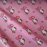 Stoff Meterware Baumwolle Hello Kitty rosa Herz Luftballon