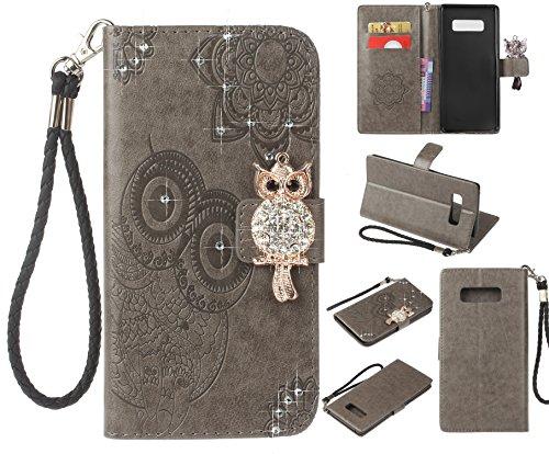 Artfeel Glitzer Diamant Brieftasche Hülle für Samsung Galaxy Note 8, Geprägt Eule Blume Leder Flip Kartenhalter Hülle,3D Bling Strass Magnetverschluss mit Handschlaufe Stand Handyhülle-Grau