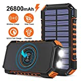 Wireless Solar Charger 26800mAh, Riapow Portable Charger with 4 Outputs & LED Flashlight, External Battery Pack USB C Quick Charge Qi Power Bank for iPhone, iPad, Samsung and Outdoor Camping