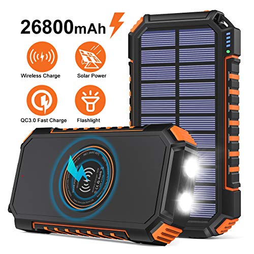 Wireless Solar Charger 26800mAh, Riapow Portable Charger with 4 Outputs & LED Flashlight, External Battery Pack USB C Quick Charge Qi Power Bank for