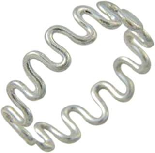 California Toe Rings Women's Sterling Silver 1Mm Wire Swirl Midi Toe Ring