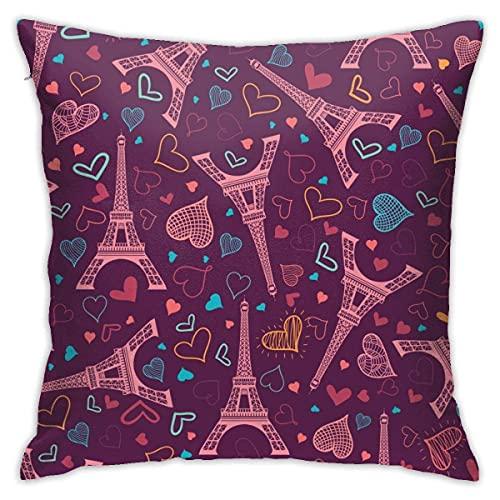 Lawenp Vektor Pink Eifel Tower Paris Dekorative Kissenbezug Polyester Kissenbezug für Zuhause Sofa Schlafzimmer Auto Stuhl Haus Party Indoor Outdoor 18 x 18 Zoll 45 x 45 cm