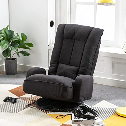 Artechworks Linen Folding Sofa Chair Floor Gaming Chair Lazy Sofa with Arms,360 Degree Swivel,6-Position Adjustable Recliner Lounge Chair Space Saving for Gaming,Living Room,Bedroom,Office,Black