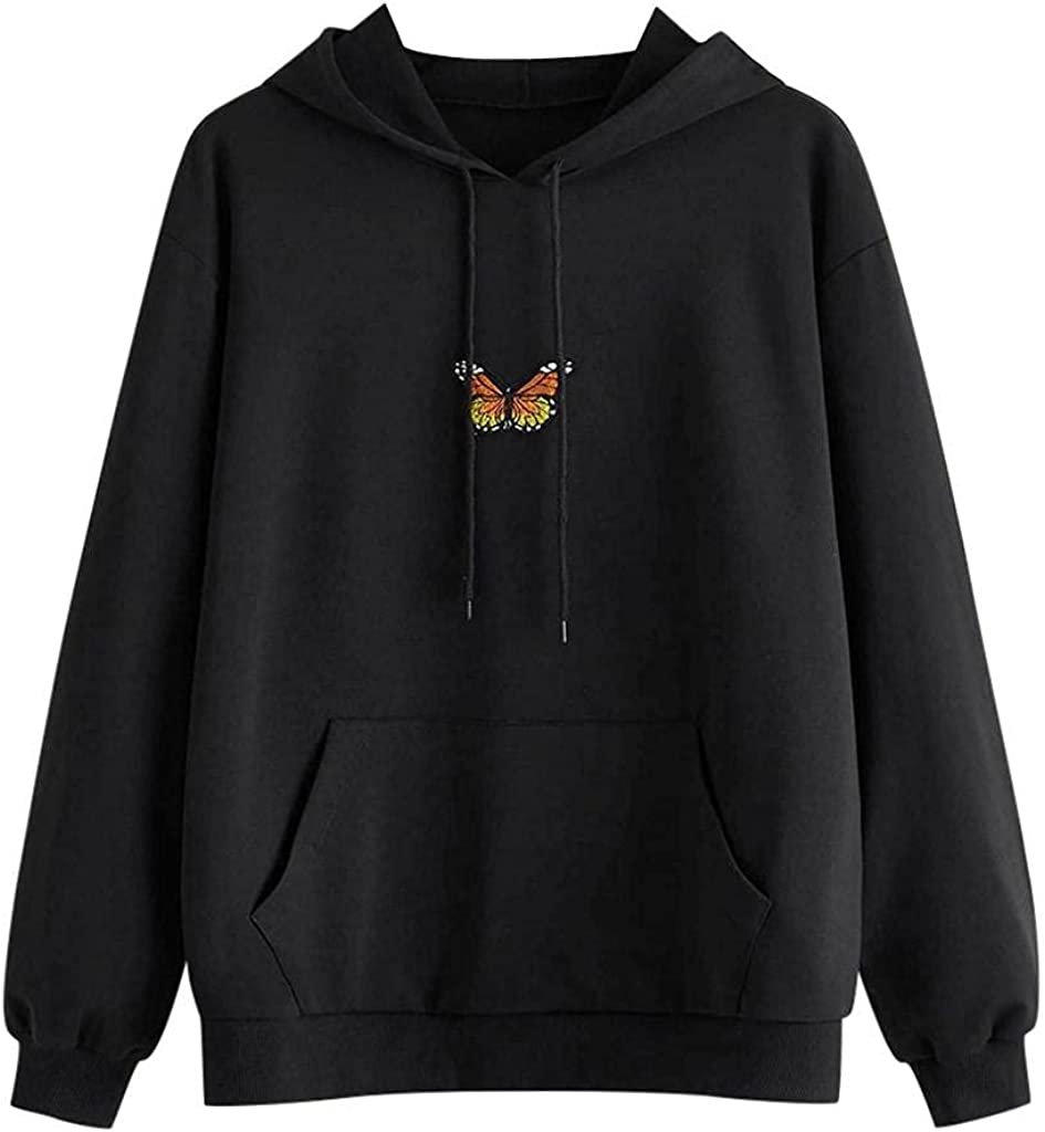Hoodies for Women with Designs Aesthetic, Teen Girls Butterfly Long Sleeve Sweatshirts Drawstring Tops with Pockets