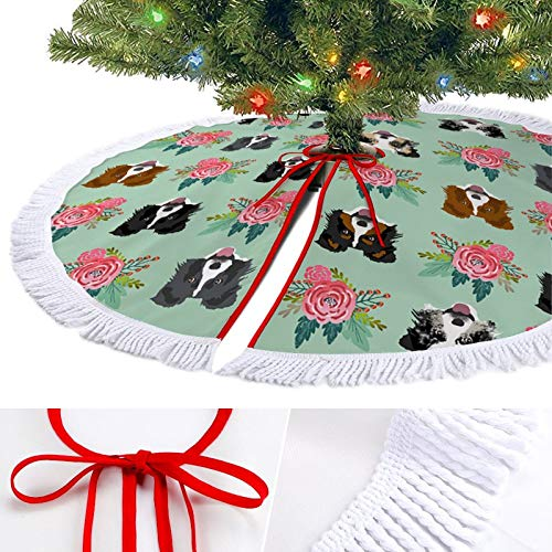 ODOKAY Luxury Christmas Tree Skirt Holiday Decorations Xmas Tree Ornaments for New Year Border Collie Florals