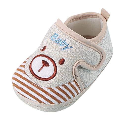 Lazzboy Neugeborenes Baby Kleinkind Kinder Mädchen Jungen Mode Cartoon Weiche Erste Wanderschuhe Hausschuhe Mit Klettverschluss Für & Mädchen(Khaki,14)