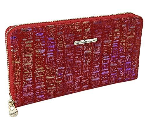 Damen-Geldbörse Portemonnaie Geldbeutel Brieftasche aus echtem und hochwertigem Leder in eleganter Hochglanz Kroko-Optik (Rot-Glitzer)