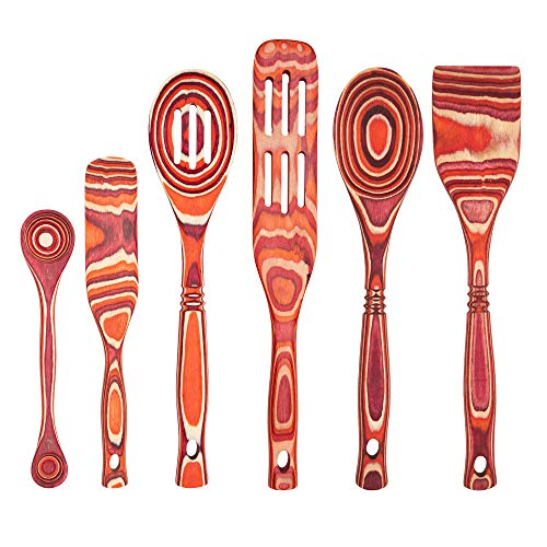Island Bamboo Pakkawood Wooden Spoon Kitchen Utensil Set of 6 with 14' Standard Spoon, 14' Slotted Spoon, 12' Straight-Edge Spatula, 13' Spurtle, 11' Spurtle, and 9' Double Measuring Spoon (Red)