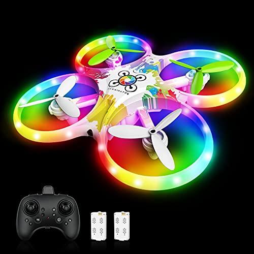 tech rc Drone pour Enfants Drone à Capteur Infrarouge Rotatif à 360° avec LED Lumières, Drone de Jouet Maintien de l'Altitude Intérieur pour Garçons et Filles