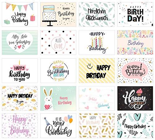 Edition Seidel Set de 20 tarjetas de cumpleaños – Tarjetas de felicitación de cumpleaños – Tarjetas postales para adultos y niños – Tarjetas de cumpleaños Happy Birthday