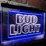 zusme Bud Light New Beer Bar Novelty LED Neon Sign White + Blue W16 x H12