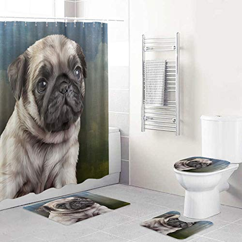 VANKINE 4 Pcs Shower Curtain Sets with Non-Slip Rugs,Toilet Lid Cover and Bath Mat,Drawing Pug Dog Vintage,Shower Curtains with 12 Hooks,Durable Waterproof Bath Curtain